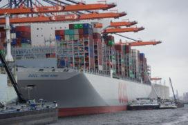 Grootste containerschip meert aan in Rotterdam