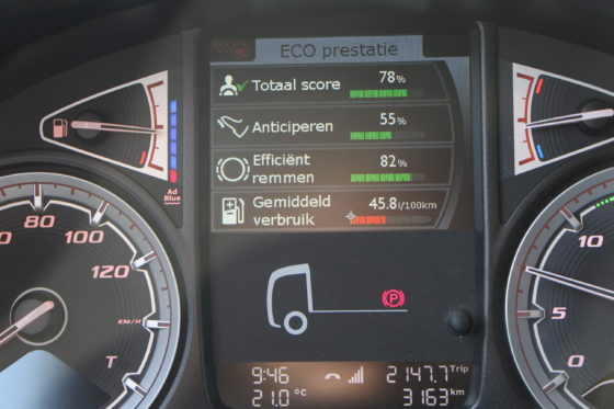 De boordcomputer vertelt de chauffeur alles over zijn rijprestaties