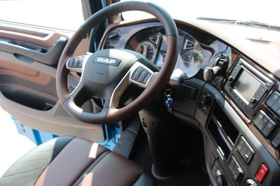 Het interieur van het topmodel van de nieuwe DAF XF. Super Space Cab. 12,9 liter MX 13 motor. Met alle denkbare opties.